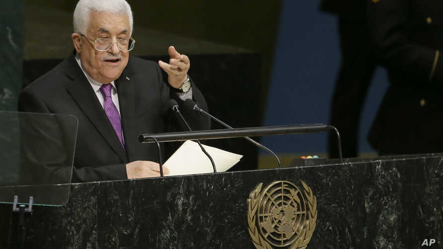 Mahmoud Abbas, President of the State of Palestine, addresses the 70th session of the United Nations General Assembly on Sept. 30, 2015 at U.N. Headquarters.