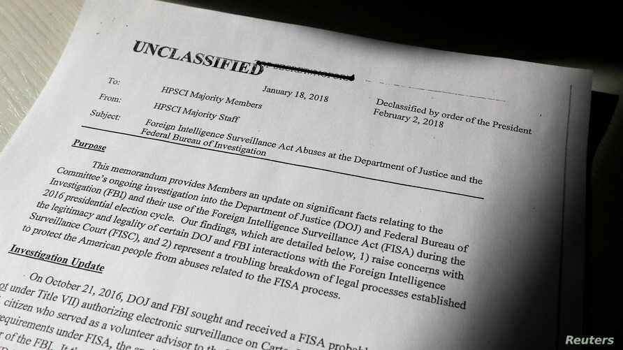 A copy of the formerly top secret classified memo written by House Intelligence Committee Republican staff and declassified for release by U.S. President Donald Trump is seen shortly after it was released by the committee in Washington, Feb. 2, 2018....