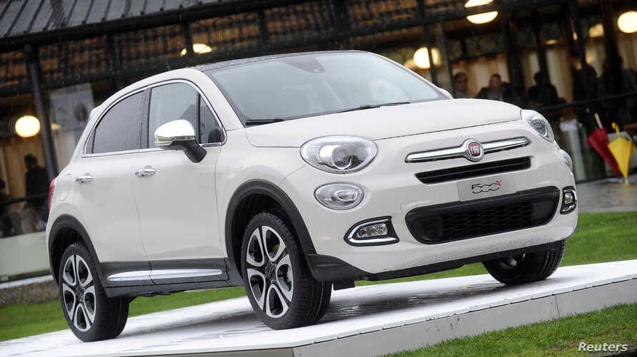 FILE - The FIAT 500x model is seen during the official presentation in Balocco, northern Italy, Nov. 11, 2014.