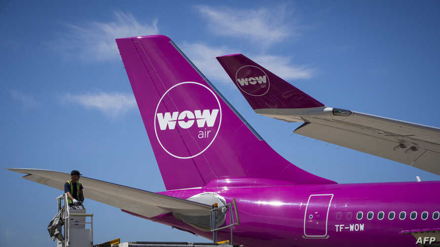 FILE - A picture taken on August 6, 2018 shows a Wow plane on the tarmac of Roissy-Charles de Gaulle Airport, north of Paris.