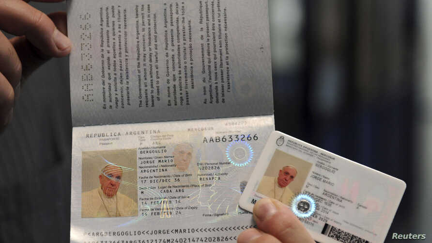 Pope Francis' new national identification card and passport are seen in this undated handout photo taken by Argentina's Interior Ministry and distributed Feb. 17, 2014.