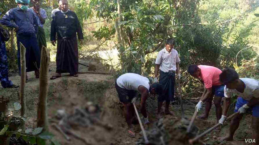 Military investigative team with 5 members are in Maungdaw to investigate the finding of 10 bodies in Inn Din village.