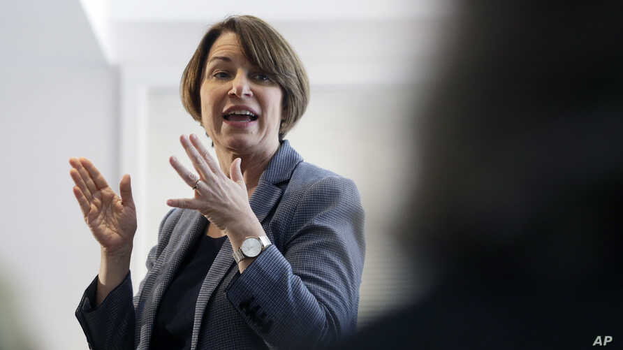 U.S. Sen. Amy Klobuchar, D-Minn., speaks to voters during a campaign stop at a home in Nashua, N.H., Feb. 24, 2019.