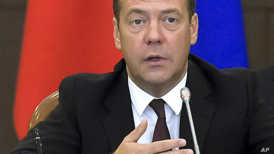 Russian Prime Minister Dmitry Medvedev speaks at the a meeting of the Eurasian Economic Union in the Black Sea resort of Sochi, Russia, Aug. 12, 2016.