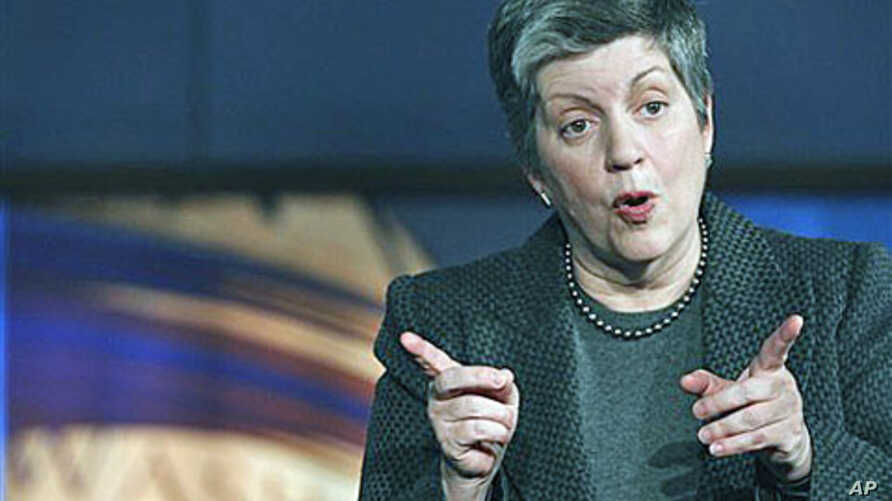 Homeland Security Secretary Janet Napolitano answers questions, after delivering the first annual 'State of America's Homeland Security' address at The George Washington University's Homeland Security Policy Institute in Washington, January 27, 2011