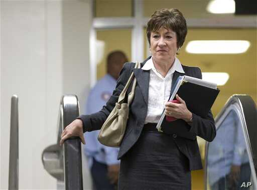 Senator Susan Collins of Maine, ranking Republican on the Senate Homeland Security and Governmental Affairs Committee, walks to a meeting  with UN Ambassador Susan Rice, on Capitol Hill in Washington, November 28, 2012.