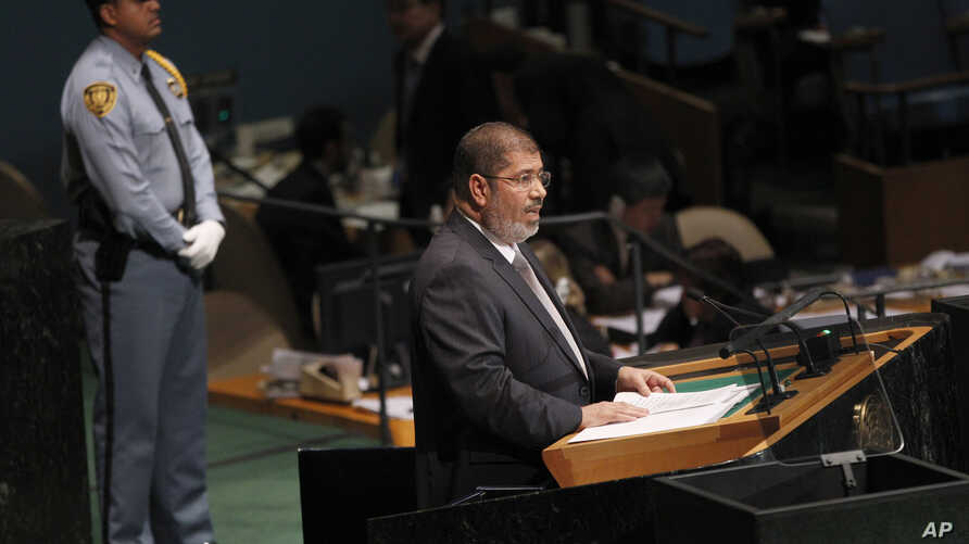 Mohammed Morsi, President of Egypt, addresses the 67th session of the United Nations General Assembly at U.N. headquarters, Wednesday, Sept. 26, 2012.