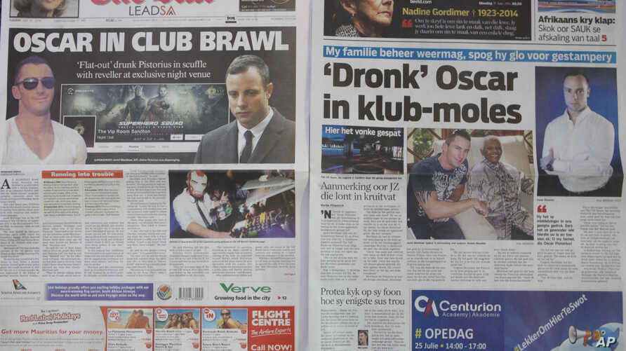 Two Johannesburg newspapers report on how Oscar Pistorius, right, who is accused of the murder of his girlfriend, recently visited a nightclub with a cousin and was allegedly accosted by a man, Jared Mortimer, left and center, who aggressively questi