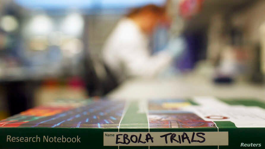 File - An Ebola trials notebook is seen in a laboratory during trials for an Ebola vaccine at The Jenner Institute in Oxford, southern England January 2015.