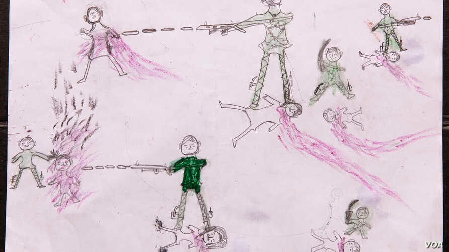 Drawing by a Rohingya boy, Abdul, revealing the horrific experiences he endured while fleeing from Myanmar to Bangladesh, at the children friendly space at the Balukhali makeshift refugee camp in Cox's Bazar district in Bangladesh.
