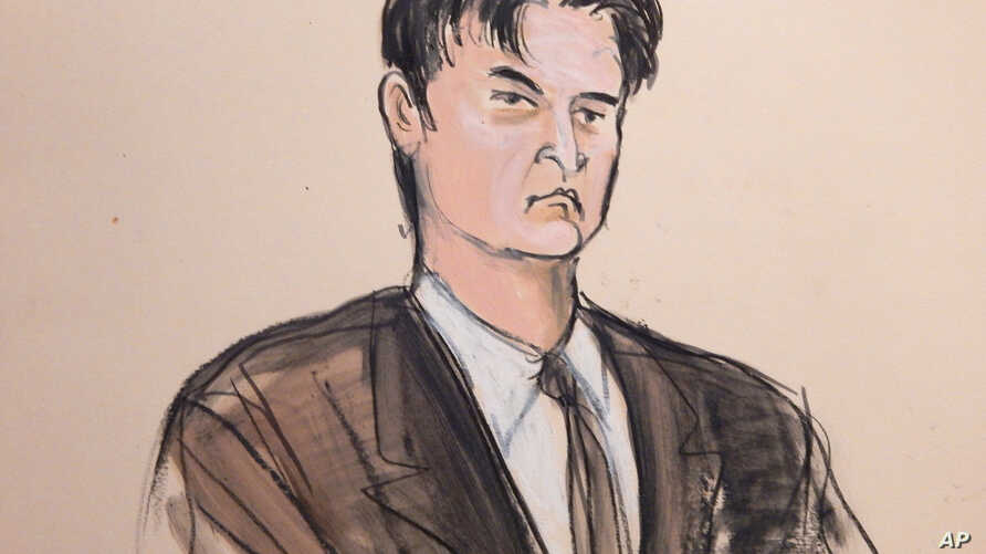 "FILE - This Feb 4, 2015, file courtroom sketch, shows defendant Ross William Ulbricht as the deputy recites the word ""guilty"" multiple times during Ubricht's trial in New York."