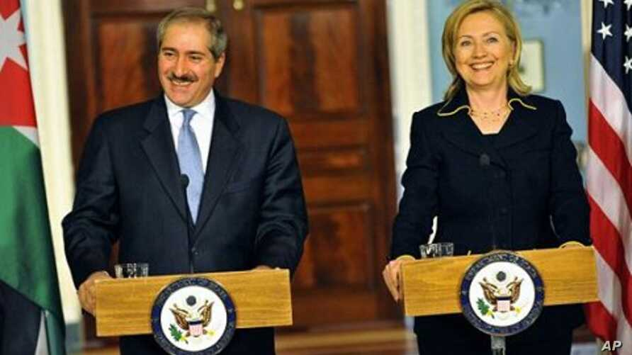 U.S. Secretary of State Clinton and Jordanian Foreign Minister Judeh speak to the press following their bilateral meeting at the Department of State, January 26, 2011