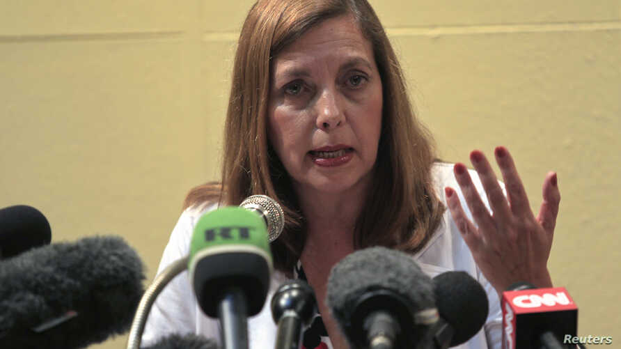 FILE - Josefina Vidal, Cuba's director of U.S. Affairs at the Ministry of Foreign Affairs, addresses the media during a news conference in Havana, Dec. 5, 2012