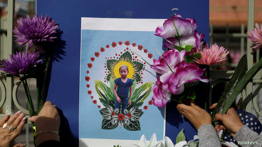 A picture of Jakelin Caal, a 7-year-old Guatemalan girl who died in U.S. custody after crossing illegally from Mexico to the U.S., is seen during a protest held to demand justice for her in El Paso, Texas, Dec. 15, 2018.