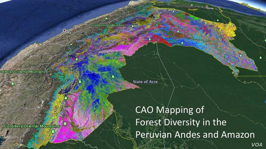 The Peruvian Andes and Amazon created with laser-guided imaging spectroscopy. Credit: Greg Asner