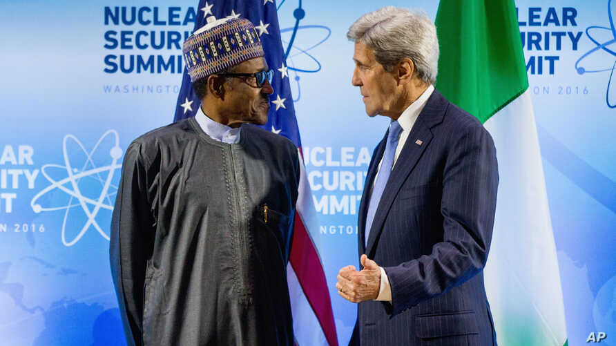 U.S. Secretary of State John Kerry meets with Nigerian President Muhammadu Buhari at the Nuclear Security Summit at the Walter E. Washington Convention Center in Washington, March 31, 2016.