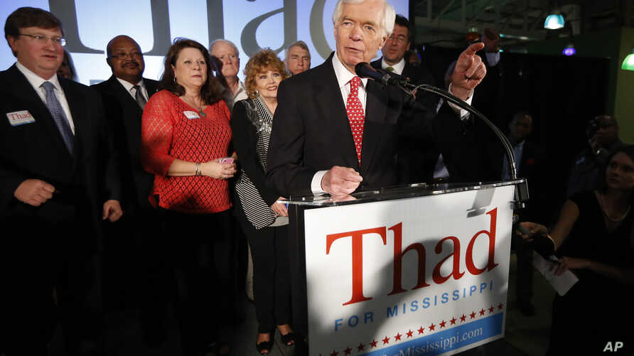 U.S. Sen. Thad Cochran, R-Miss., addresses supporters and volunteers at his runoff election victory party Tuesday, June 24, 2014.