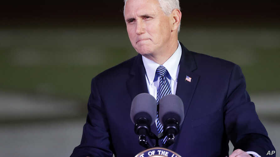 FILE - Vice President Mike Pence speaks in Floresville, Texas, Nov. 8, 2017. He'll be keynoting two days of Republican Governors Association meetings this week in Austin, Texas.
