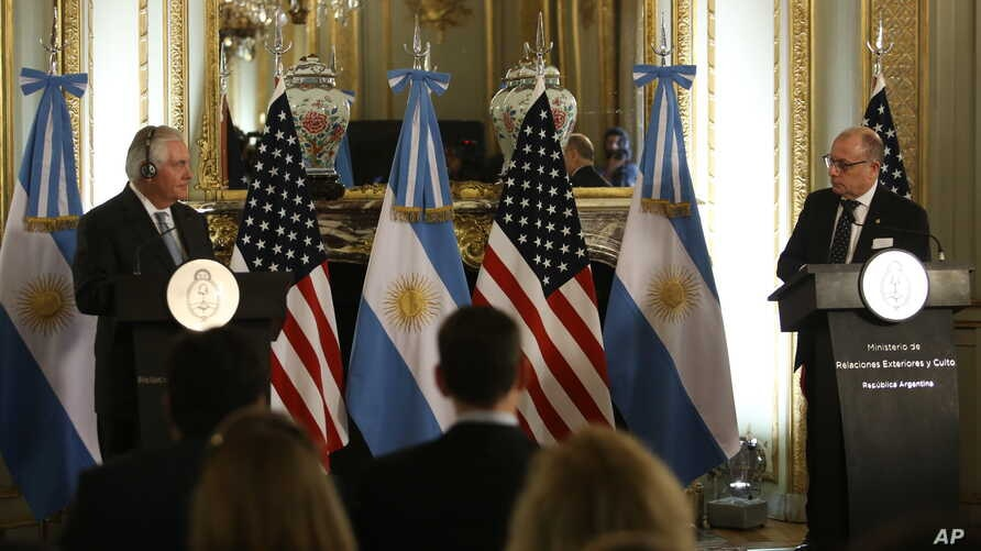 U.S. Secretary of State Rex Tillerson, left, and Argentine Foreign Minister Jorge Faurie give a news conference at the Foreign Ministry in Buenos Aires, Argentina, Feb. 4, 2018.