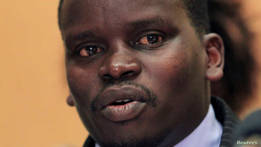 Audio executive Joshua Arap Sang named in the International Criminal Court (ICC) list of six suspects, addresses a news conference in Nairobi in this December 16, 2010 file photo.
