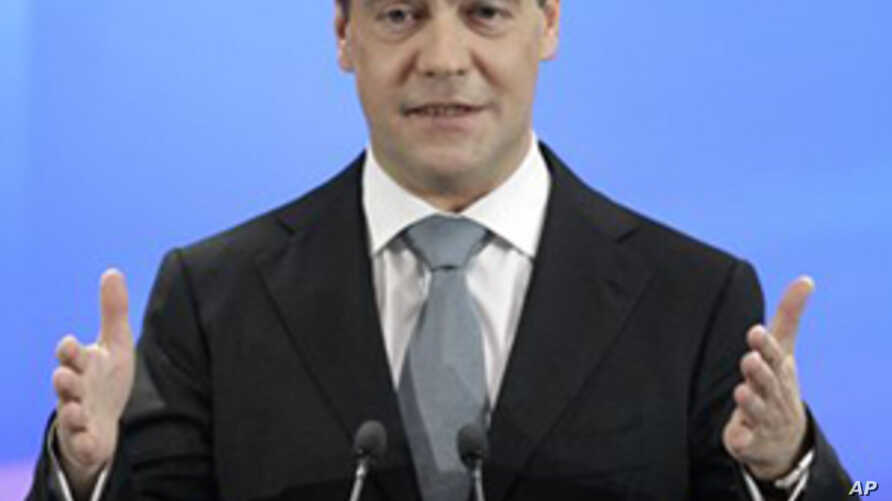 Russian President Dmitry Medvedev speaks during a news conference at a business school in Skolkovo, outside Moscow, Russia,  May 18, 2011