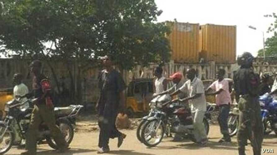 Photo of police check point near Government House in Kano, Nigeria (Isiyaku Ahmed/VOA)