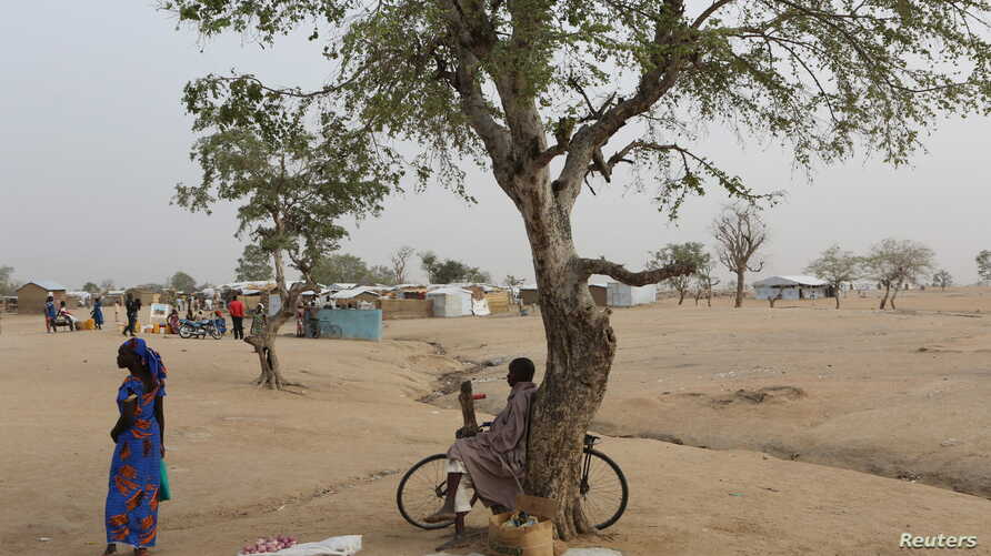 FILE - A man sells tomatoes under a tree at the Minawao refugee camp in Minawao, Cameroon.