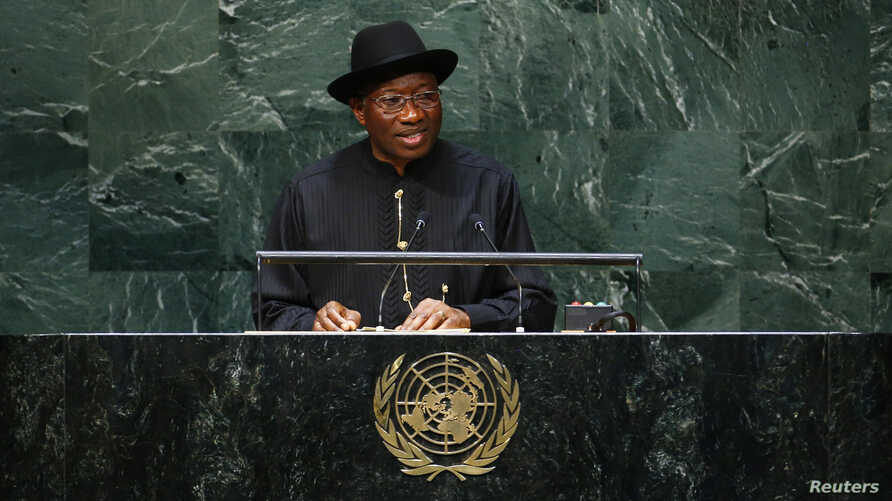 Nigerian president Goodluck Ebele Jonathan addresses the 69th United Nations General Assembly at the U.N. headquarters in New York, Sept. 24, 2014.