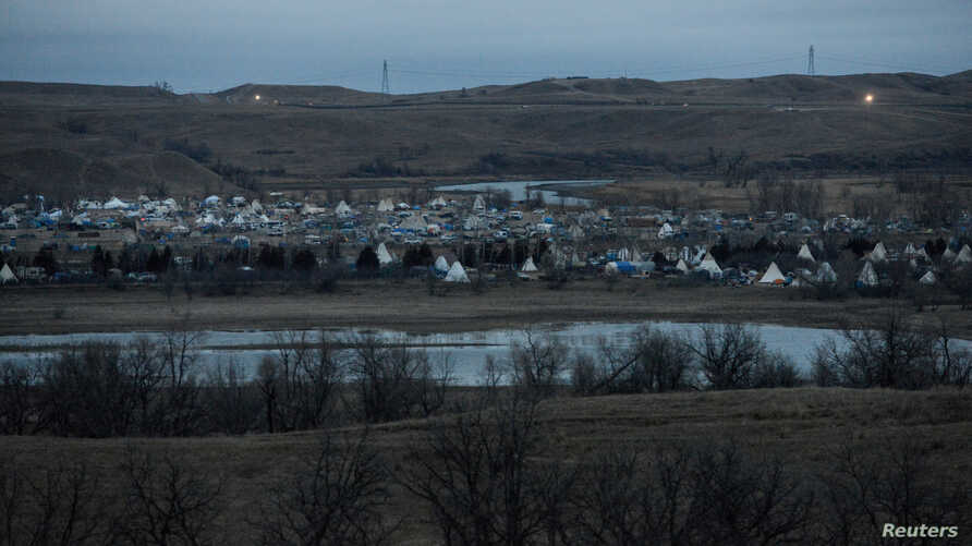 The protest encampment is seen during a protest against plans to pass the Dakota Access pipeline near the Standing Rock Indian Reservation, near Cannon Ball, N.D., Nov. 17, 2016.