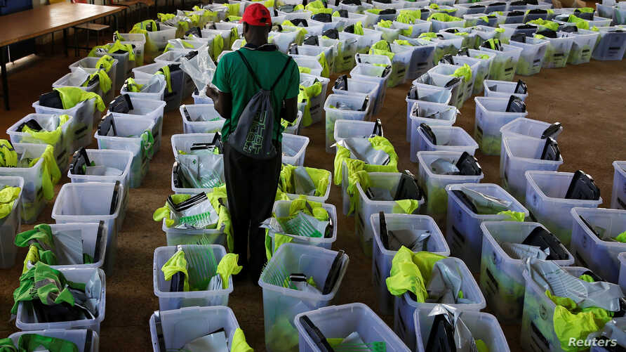 Ballot boxes and election materials are seen at a tallying center in Kisumu, Kenya, Oct. 27, 2017.