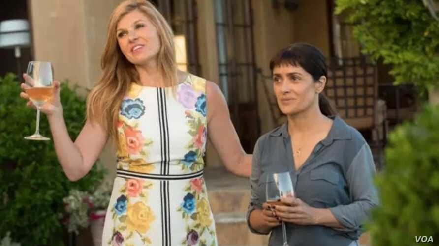 Salma Hayek, right, has the title role in 'Beatriz at Dinn