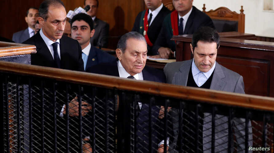 Former Egyptian President Hosni Mubarak testifies during a court case accusing ousted Islamist president Mohamed Mursi of breaking out of prison in 2011, in Cairo, Egypt, December 26, 2018.