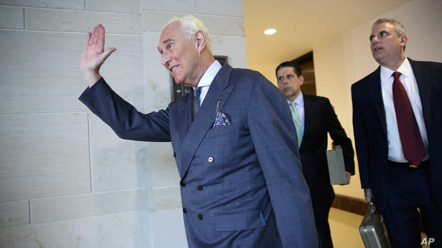 Longtime Donald Trump associate Roger Stone arrives to testify as part of the House Intelligence Committee's investigation into Russian meddling in the 2016 election, in Washington, Sept. 26, 2017.