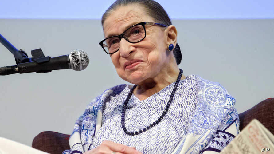 "US Supreme Court Justice Ruth Bader Ginsburg speaks after the screening of ""RBG,"" the documentary about her, in Jerusalem, July 5, 2018."