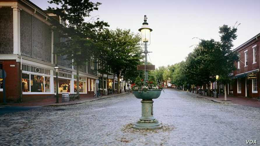Nantucket's restful town center, though this photo was cer