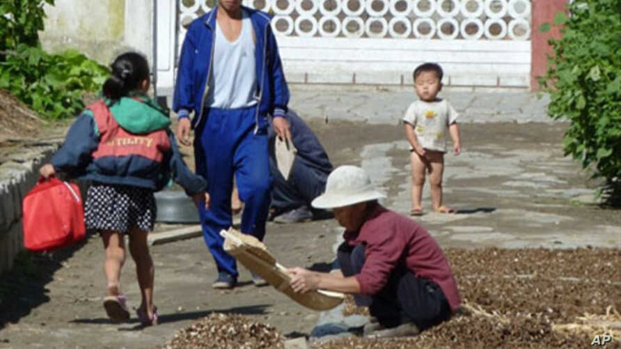 This photo taken on September 23, 2010 shows residents drying crops outside their homes at a collective farm located about 20 kilometers from the center of Pyongyang