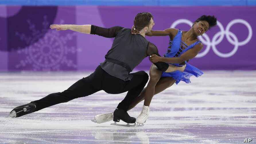 Vanessa James and Morgan Cipres of France perform in the pair skating short program team event at the 2018 Winter Olympics in Gangneung, South Korea, Friday, Feb. 9, 2018.