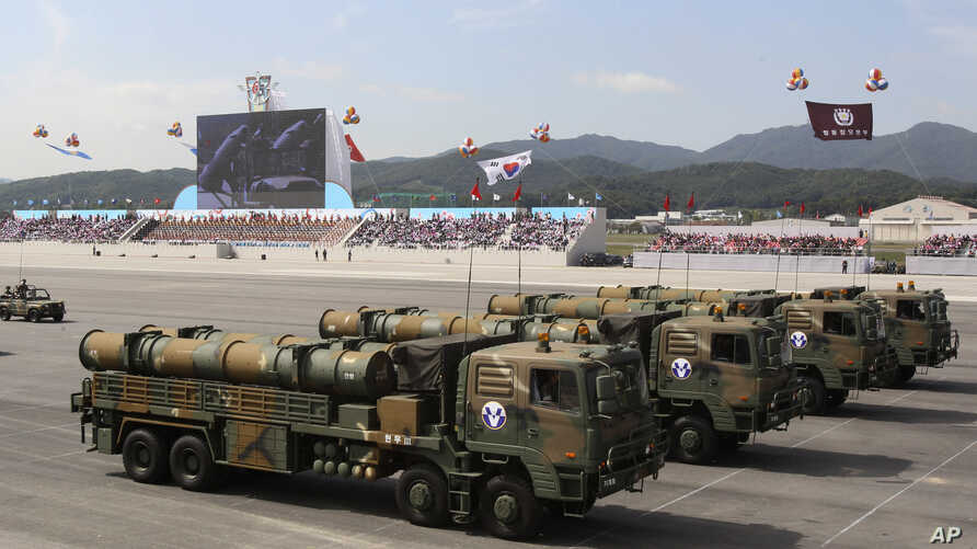 South Korean Hyunmu-3 cruise missiles are displayed during a ceremony marking the 65th anniversary of Armed Forces Day at a military airport near Seoul,  in Seongnam, South Korea, Tuesday, Oct. 1, 2013. South Korea displayed the domestically-built mi