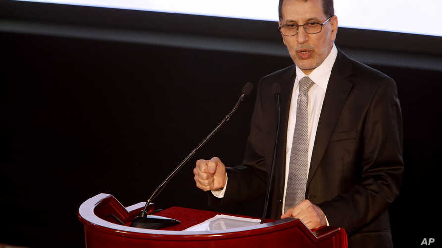 Morocco's Prime Minister Saad-Eddine El Othmani delivers a speech as political parties from across the spectrum met in Laayoune, Western Sahara's largest city, to condemn the latest actions of the Polisario Front, a movement seeking independence for