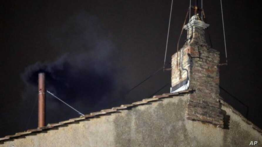 Black smoke emerges from chimney of Sistine Chapel March 12, 2013