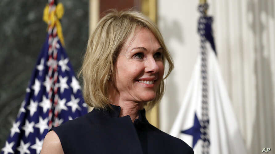FILE - U.S. Ambassador to Canada Kelly Craft is pictured in the Eisenhower Executive Office Building on the White House grounds, Sept. 26, 2017, in Washington.