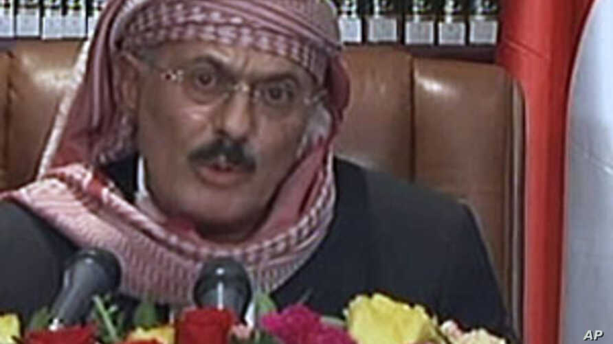 A grab taken from Yemen's state television station shows Yemeni President Ali Abdullah Saleh addressing the nation from Sanaa as government troops opened fire on protesters calling for Saleh to be tried for crimes against Yemenis, September 25, 2011.