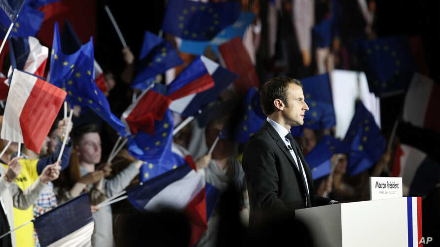 French independent centrist presidential candidate Emmanuel Macron addresses his supporters during an election campaign rally in Arras, northern France, April 26, 2017.
