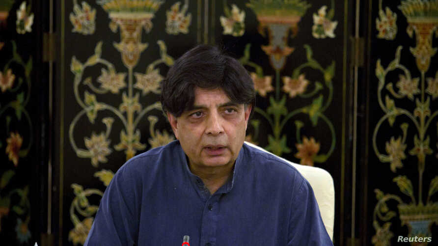 Pakistani Interior Minister Chaudhry Nisar Ali Khan, who says next round of talk with Taliban will take place in days, speaks during a press conference in Islamabad, Pakistan, April 13, 2014.
