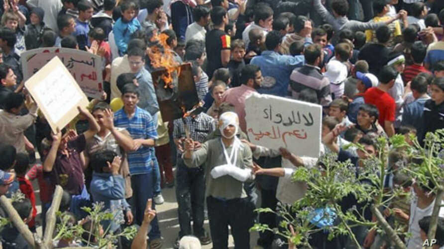 A demonstrator holds a burning placard with a picture of Syria's President Bashar al-Assad after Friday prayers in Talbiseh, near Homs, April 20, 2012. The sign on the right reads 'No to medicines; yes to freedom.'