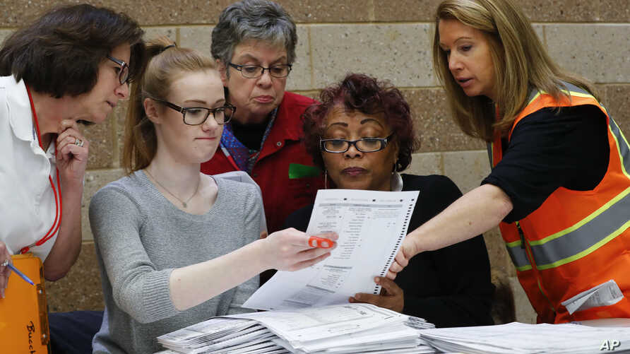 A challenge is reviewed on a ballot during a statewide presidential election recount in Waterford Township, Mich., Dec. 5, 2016.