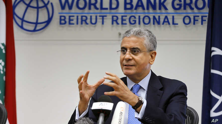 World Bank Vice President for the Middle East and North Africa Ferid Belhaj, speaks during a press conference in Beirut, Lebanon, July 31, 2018.