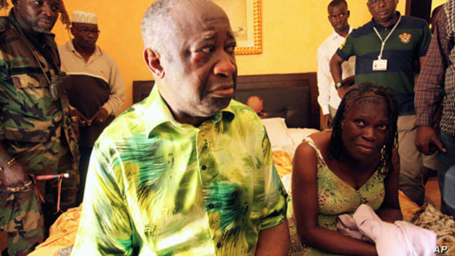 Former Ivorian President Laurent Gbagbo and his wife Simone, in the custody of  forces loyal to Alassane Ouattara at the Golf Hotel in Abidjan, Ivory Coast, April 11, 2011