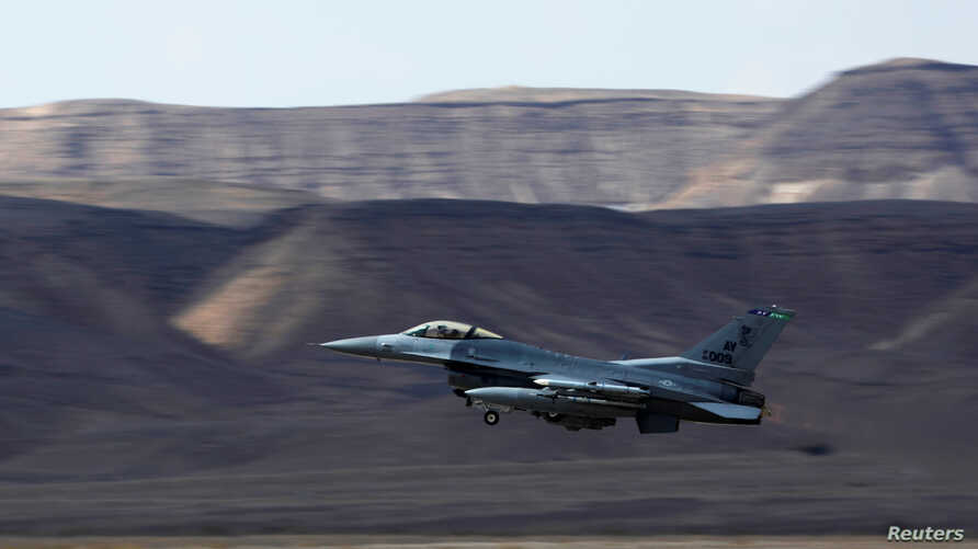 """A U.S. Air Force F-16 takes off during a joint international aerial training exercise hosted by Israel and dubbed """"Blue Flag 2017"""" at Ovda military air base in southern Israel, Nov. 8, 2017."""