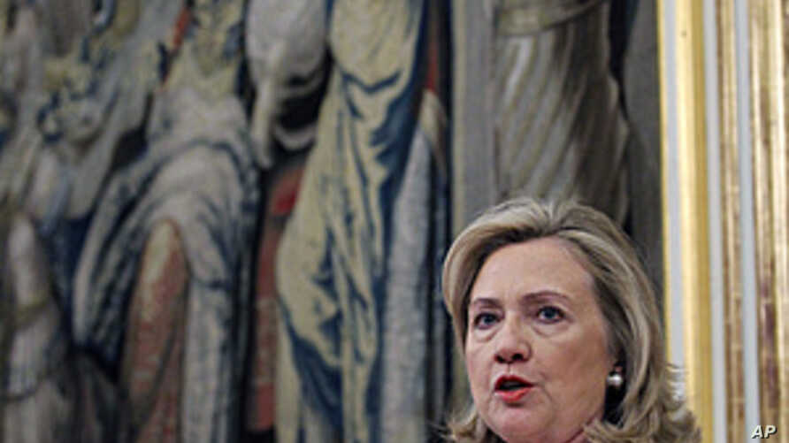 US Secretary of State Hillary Rodham Clinton speaks during a press presentation after a meeting with Spanish Foreign Minister Trinidad Jimenez at Viana Palace July 2, 2011, in Madrid
